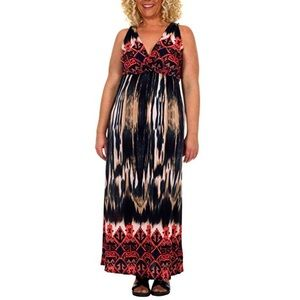 Colorful Chic Full Length Plunge VNeck Maxi Dress